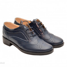 Pantofi dama bleumarin casual-eleganti din piele naturala Oxford Black cod P71BL - Pantof dama, Marime: 35, 36, 37, 38, 39, 40, Cu talpa joasa