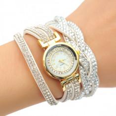 Ceas dama auriu bratara alba piele eco impletita cristale superb + cutie  cadou