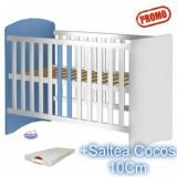 Patut din lemn fara sertar Anne alb-albastru+ Saltea - Patut lemn pentru bebelusi Hubners