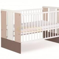 Patut Din Lemn KLUPS PAULA Latte + Saltea 9cm - Patut lemn pentru bebelusi
