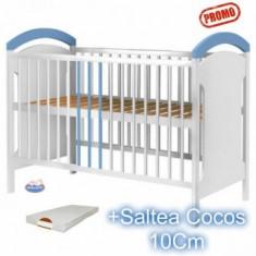 Patut din lemn fara sertar Anita alb-albastru + Saltea - Patut lemn pentru bebelusi Hubners