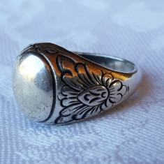 Inel argint SUPERB VECHI marcaj MINERVA gravat manual model floral SPLENDID RAR