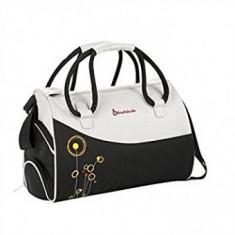 Geanta pentru scutece Flower Bag Black / Grey - Geanta plimbare copii