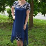 Rochie de ocazie, masura are, din voal si dantela, nuanta bleumarin (Culoare: BLEUMARIN, Marime: 52) - Rochie de seara, Scurta