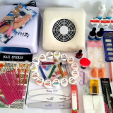 Kit set unghii false,lampa uv,aspirator + Bonus
