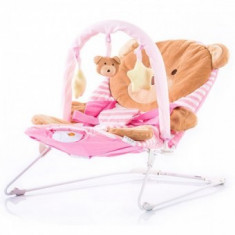 Scaunel balansoar muzical Chipolino Friends pink bear - Balansoar interior