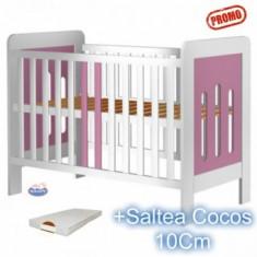 Patut din lemn fara sertar Sophie alb-roz + Saltea - Patut lemn pentru bebelusi Hubners