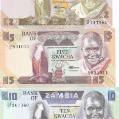 Bancnota Zambia 2, 5 si 10 Kwacha (1988) - P24-26 UNC ( set 3 bancnote )