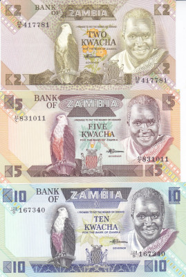 Bancnota Zambia 2, 5 si 10 Kwacha (1988) - P24-26 UNC ( set 3 bancnote ) foto