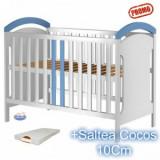 Patut din lemn fara sertar Hansell alb-albastru+Saltea - Patut lemn pentru bebelusi Hubners