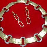 SET bijuterii NNM- placat AUR de 18k si CRISTALE ZIRCONIA ALBE - Set bijuterii placate cu aur