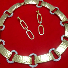 SET bijuterii dama NNM- placat AUR de 18k si CRISTALE ZIRCONIA ALBE