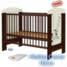 Patut din lemn fara sertar Carolin Catelus + Saltea - Patut lemn pentru bebelusi Hubners