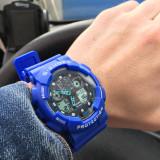 CEAS BARBATESC CASIO G-SHOCK GA-100 + CUTIE CADOU Blue Albastru, Quartz