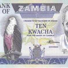 Bancnota Zambia 10 Kwacha (1988) - P26e UNC - bancnota africa