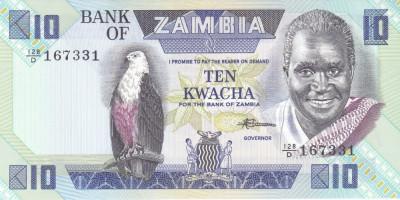 Bancnota Zambia 10 Kwacha (1988) - P26e UNC foto