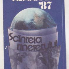 Bnk cld Calendar de buzunar - 1987 - Almanah Scanteia Tineretului - Calendar colectie