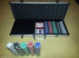 Poker de 500 jetoane in servieta din aluminiu