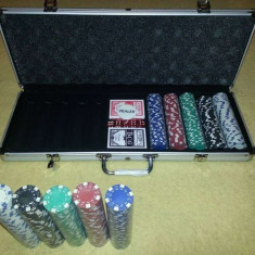 Poker de 500 jetoane in servieta din aluminiu - Set poker