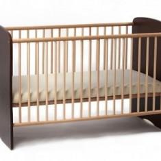 Patut din lemn de pin SERENA Wenge Fara Sertar - Patut lemn pentru bebelusi MyKids