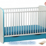 Patut Serena cu leganare Turcoaz-Alb +Saltea 6Cm - Patut lemn pentru bebelusi Klups
