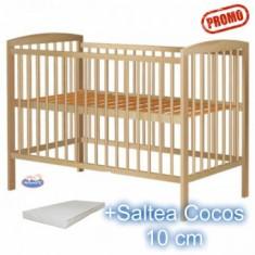 Patut din lemn Anzel Natur + Saltea 120x60x10cm - Patut lemn pentru bebelusi Hubners