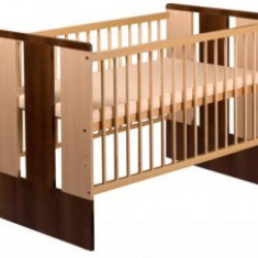 Patut Din Lemn KLUPS PAULA Natur Wenge - Patut lemn pentru bebelusi