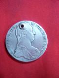 Moneda- Medalion , gaurita - Taler Maria Tereza 1780 ,cal.F.Buna , argint