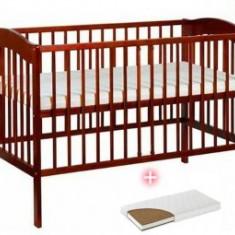 Patut din lemn Klups Radek IV Cires +Saltea 10Cm - Patut lemn pentru bebelusi