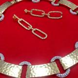 SET bijuterii- placat AUR de 18k si CRISTALE ZIRCONIA ALBE