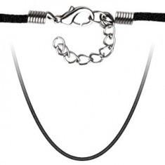 Lanț negru din catifea - Colier inox