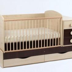 Patut Transformabil Silence Cu Leganare Wenge - Patut lemn pentru bebelusi MyKids