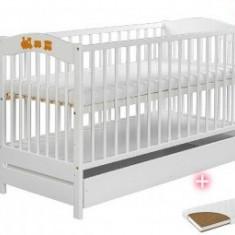 Patut Din Lemn Cu Sertar RADEK V Alb+Saltea - Patut lemn pentru bebelusi Klups