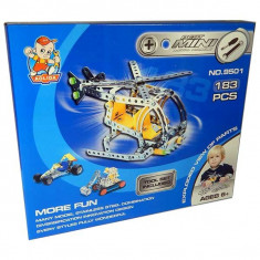 Jucarie metalica Set constructii Elicopter cu elice 183 piese