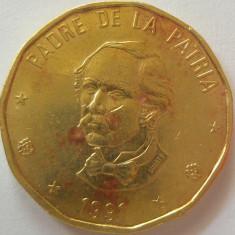Moneda 1 Peso - republica DOMINICANA, anul 1991 *cod 4670, America Centrala si de Sud
