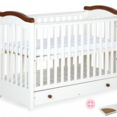Patut din lemn cu sertar KLUPS Rafal Wenge+Saltea - Patut lemn pentru bebelusi