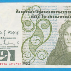 (1) BANCNOTA IRLANDA - 1 PUNT (POUND) 1984 (10.04.19984) - STARE FOARTE BUNA - bancnota europa