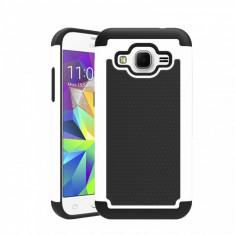 Husa ARMOR Samsung Galaxy J5 alb + neagru - folie protectie display - Husa Telefon, Negru, Gel TPU, Fara snur, Carcasa