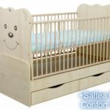 Patut Evolutiv Teddy Natur Cu Leganare+Saltea - Patut lemn pentru bebelusi Klups