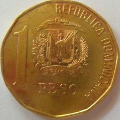 Moneda 1 Peso - republica DOMINICANA, anul 1991 *cod 4671, America Centrala si de Sud