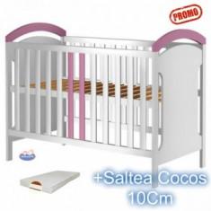 Patut din lemn Hubners Hansell alb-roz + Saltea - Patut lemn pentru bebelusi
