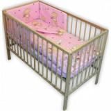 Lenjerie patut Hubners Ursulet cu Iepuras 4 piese roz - Lenjerie pat copii