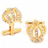Butoni eleganti aurii cristale forma coroana + ambalaj cadou