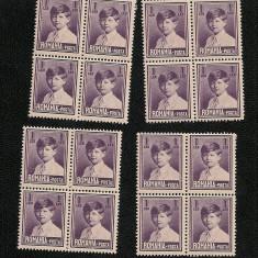Lp 83a - Mihai I, 1 leu - format mic fara filigran - 8 blocuri de 4 - Timbre Romania, An: 1930, Nestampilat