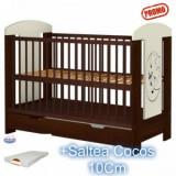 Patut copii Carolin Ursulet venghe cu sertar+Saltea 10Cm - Patut lemn pentru bebelusi Hubners