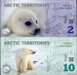 RARR : TERITORIILE  ARCTICE - COALA NETAIATA 2 + 10 DOLARI 2010 - UNC / SPECIMEN
