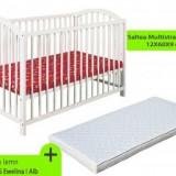 Patut fara sertar KLUPS Ewelina I Alb+ Saltea 9cm - Patut lemn pentru bebelusi