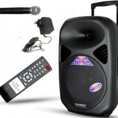 SISTEM PROFESIONAL BOXA ACTIVA 300W,BASS 15 INCH,BLUETOOTH,MP3 USB,MICROFON WIR.