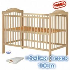Patut copii din lemn fara sertar Lizett Natur+ Saltea - Patut lemn pentru bebelusi Hubners