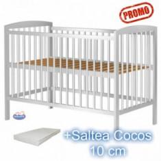 Patut copii din lemn Anzel Alb+Saltea120x60x10cm - Patut lemn pentru bebelusi Hubners
